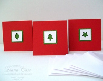 Mini Christmas Card Set - Christmas Gift Enclosure Cards - Holiday Gift Cards - Christmas Gift Tags - Mini Note Cards - Lunchbox Notes