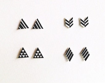 Hand Drawn Black and White Herringbone Chevron Post Earrings Studs