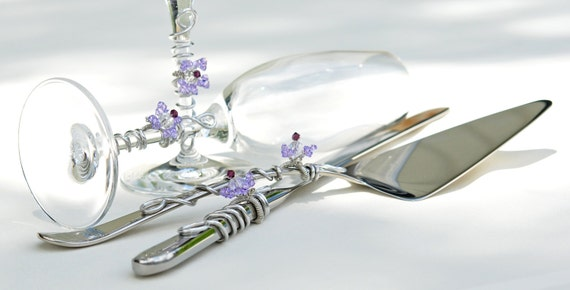 Violet Wedding Cake Server And Knife Set Champange Toasting Flutes