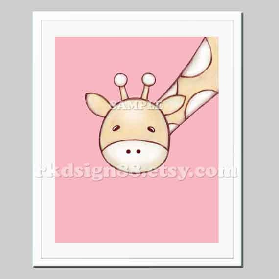 Childrens wall art - baby nursery art print - nursery decor - nursery print - kids art - giraffe art - My Giraffe - 8 x 10 print