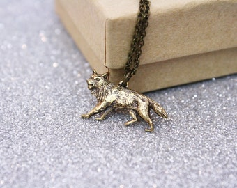 Brass Coyote Wolf Necklace  Little Red Riding Hood / SAMPLE SALE