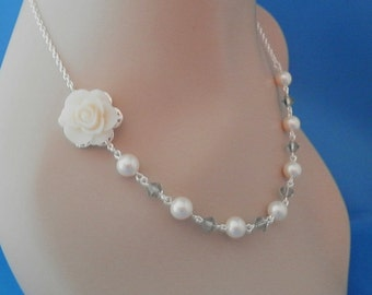 Bridesmaid Jewelry Ivory Rose Pearl and Gray Crystal Bridesmaid Necklace