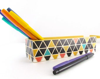 Geometric Coloring Book Pencil Box Storage - Triangular Design Wooden Keepsake Box - Homeschooling Crayon Box