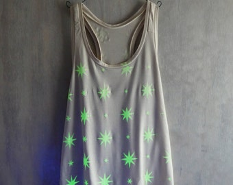 SALE Pastel Goth Glow in the dark Star Tank Top