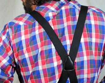 Vintage 80s Basic Black Skinny Suspenders