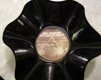 "Neil Diamond Genuine  Vintage 33rpm Upcycled LP Record Bowl featuring ""Hot August Night"""