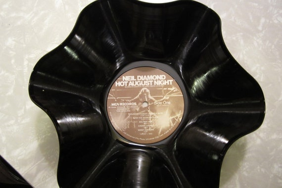 """Neil Diamond Genuine  Vintage 33rpm Upcycled LP Record Bowl featuring """"Hot August Night"""""""