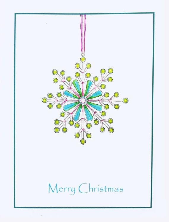Items similar to unique christmas card art card blank for Cool christmas art