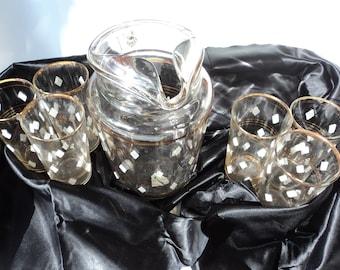 barware set pitcher and 6 glasses harlequin raised diamond textured and gold band