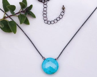 Turquoise necklace - Layering Necklace - Oxidized Silver Necklace - Gemstone necklace  - December Birthstone necklace