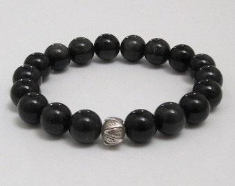 Black Obsidian Men Beaded Bracelet Chakra Mala Beads Bracelet Coachella Yoga Lotus Sterling Worry Beads Prayer Meditation Inspirational Gift