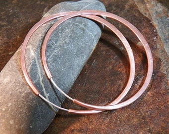 Copper Hoops - Continuous Endless Style - Self locking - Handcrafted - Hammered Hoop Earrings