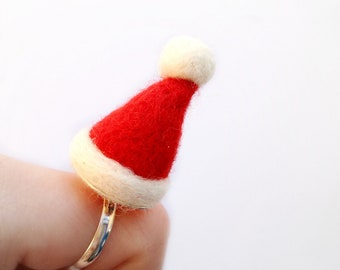 Needle Felt Santa Hat Ring - Felt Xmas, Red And White Hat Jewellery