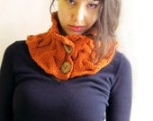 Neck warmer knitted by hand-Cadmium Red Wool Knit Neck warmer