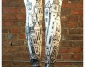 sale Victorian City Leggings - Womens Off White Legging tights - SMALL Legwear