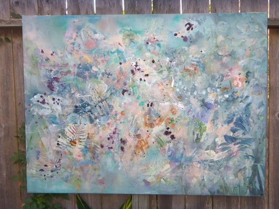 Original Large Baby Blue Pastel Garden Painting Cool Comforting the Earth Garden Series Reserved for Katie  48x36x1/121.9cmx91.4cm