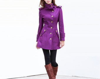 Purple Fitted Coat Military Jacket Winter Wool Coat Women Coat - Custom Made - NC240