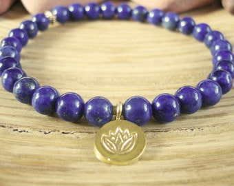 Lotus Bracelet - Lapis Lazuli Bracelet with Gold Lotus Flower Charm, Blue Yoga Mala Beads for Protection, Intuition, Stress and Wisdom