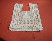 Filet Crocheted Christmas Bib Red  Ribbon  Free shipping