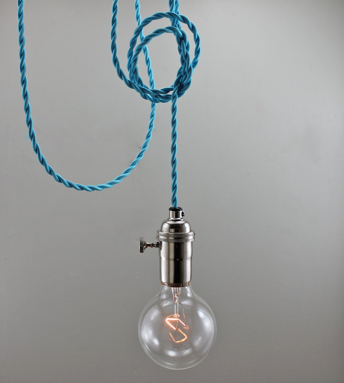 bright blue modern bare bulb pendant light by goldheartsupply. Black Bedroom Furniture Sets. Home Design Ideas
