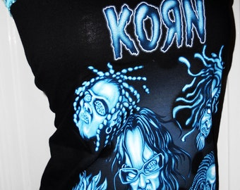 KORN rocker punk rock gothic industrial ladies reconstructed diy heavy metal band shirt.