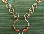 Hand hammered Brass wire necklace with curled and rounded links with Swarovski crystals by Third Time's A Charm- FREE SHPPING!