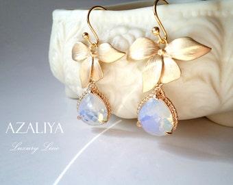 Wild Orchid Opal Crystals Princess Chandeliers. October Birthstone. Azaliya Luxury Line. Bridal, Bridesmaids Earrings. Gifts.