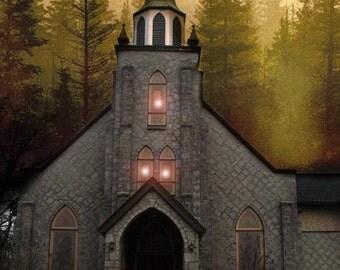 Surreal Church Photography, Gothic Church Winter Night Print, Church Autumn Fall Woodlands, Fairytale Church In Woods, Surreal Gothic Church