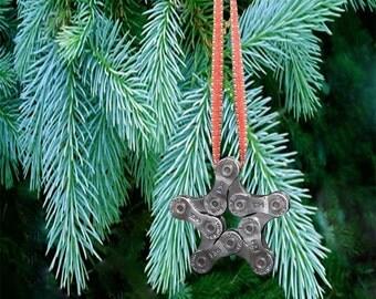 Bike Chain Ornament Star Christmas Tree Ornament  Bicycle Chain Star