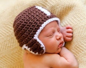 Hat CROCHET PATTERN Football Baby Girl Boy in 5 sizes 0 to10 years Hat ONLY