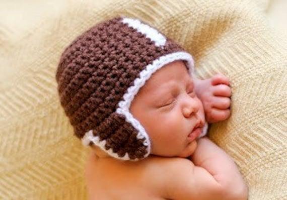 Hat Crochet Pattern Football Baby Girl Boy In 5 Sizes 0 To10