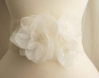 Bridal Organza Dahlia Floral Sash - Ivory - Bridal Sash Belt - Flower girl Bridesmaids Sash Set - Wedding Gift Accessory