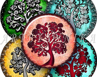 Digital Collage of Colorful trees - 48 1.313 Inch Circle JPG images - Digital Collage Sheet