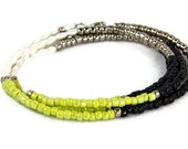 Long Beaded Necklace Color Blocking in Bright Chartreuse Black Silver and White Pearls Wrap Bracelet