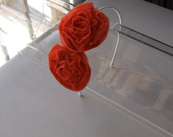Orange Chiffon Flower Ivory Satin Headband, for weddings, bridesmaid, parties, special occasions
