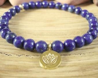Lotus Bracelet - Lapis Lazuli Bracelet with Gold Lotus Flower Charm, Blue Yoga Mala Beads for Protection, Intuition, Stress and Wisdom