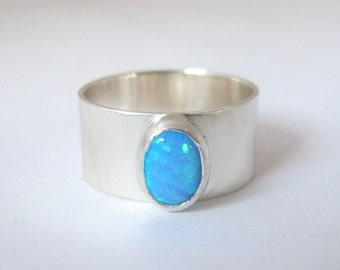 Opal Ring, Sterling Silver Ring with Blue Opal, Gemstone ring, Wide Band, Size 11.5