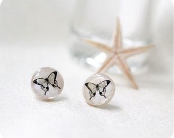 Butterfly earrings - Butterfly jewelry - Earring stud, small earrings - Birthday - Everyday jewelry - Free shipping / STD06