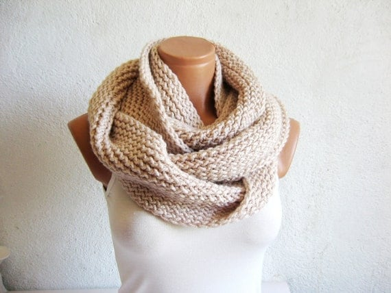 2017 Trend,Winter scarves,Vanilla Knitted Accessory infinity Scarf Block Infinity Scarf. Loop Scarf, Circle Scarf, Neck Warmer.