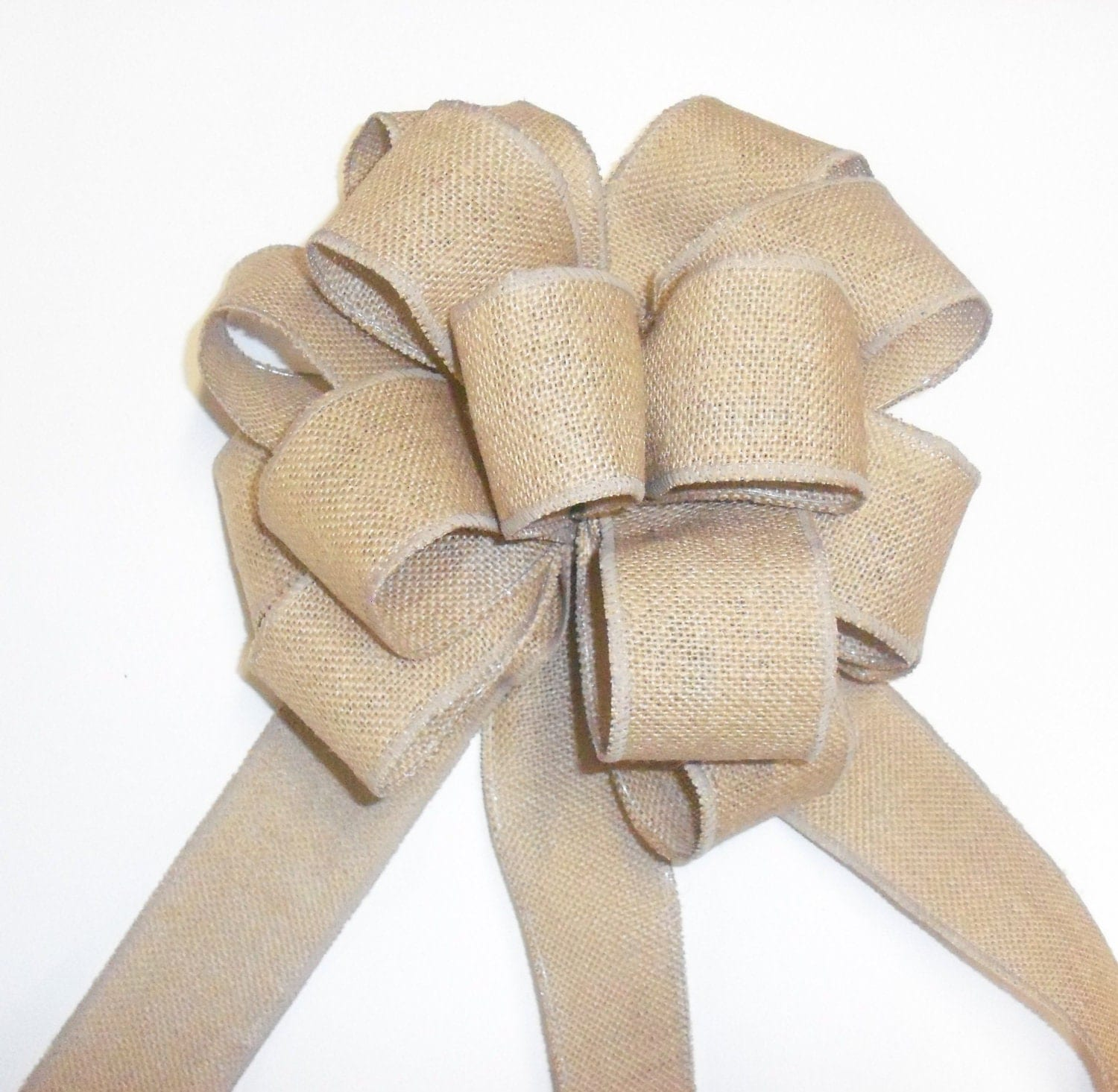 Large burlap bow wedding bows burlap christmas by for What to make with burlap