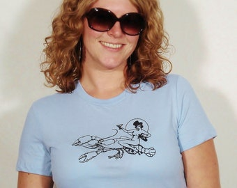 SALE Naked Lady Riding Lobster on Women's Baby Blue T-Shirt Large