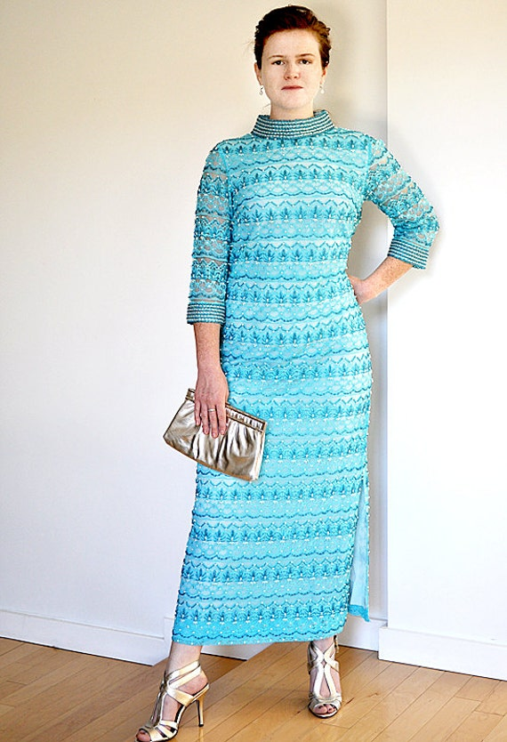 Vintage Teal Beaded Dress 60s Haute Couture