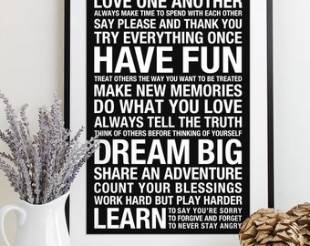 Wall Art Family Rules Sign Subway - house rules playroom print typography poster bus roll modern art decor