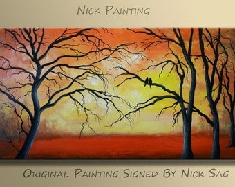 "Original Impressionist Painting Modern absract Landscape painting Oil and Acrylic  -Fiery Sunset- By Nick Sag 40"" x 20"""