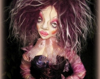 Goblin princess Art doll--Cloth sculpture-glass-mixed media