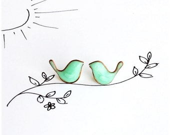 Birds Stud Earrings, Mint Green earrings, Bird Jewelry