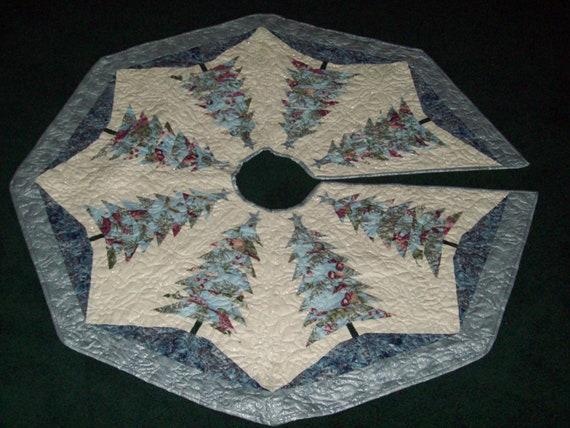 Quilted Christmas Tree Skirt Pinterest : Machine Quilted Christmas Tree Skirt Silver and Blue