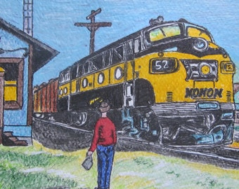 Monon Train At McDoel Yards 1950's Train Watercolor Print 11 X 15 by Kathy Marrs Chandler