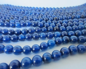 Blue Smooth Agate Beads - 6mm