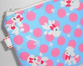 Kawaii Bubble Poodles Padded Zippered Pouch -- Aqua & Hot Pink